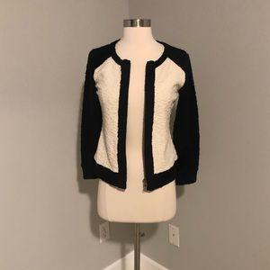Jcrew white black zip up cardigan jacket xs